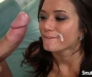 Hot brunette MILF fuck and cum in mouthHD