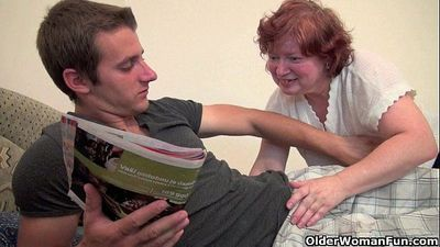 Full figured grandma seduces son\'s friend - 6 min HD