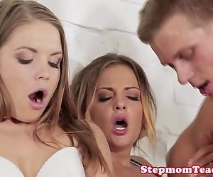 European stepmom teaches teen couple closeupHD