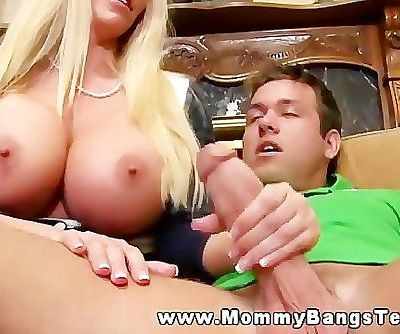 Cougar mom testing son in laws cock