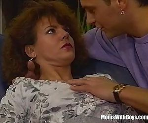 A Hairy Pussied Brunette MILF Fucked In The CouchHD