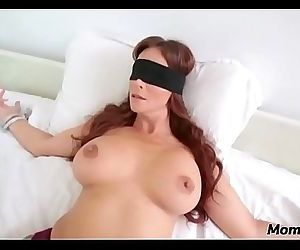 Perv son fucks moms mouth when shes blindfolded! 5 min HD