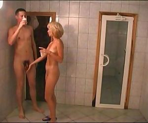 Elena russian mom in sauna with young guy