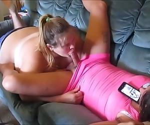 cheatting wife sucks young & hot sissy girl huge dick & swallow a mouth full of girl cum 10 min 720p