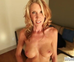 Horny MILF fucks and swallows
