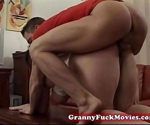 Horny granny fucked rough by younger guy - 5 min