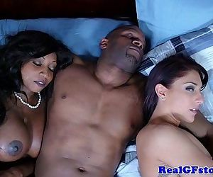 Ebony housewife and friend cum swapping