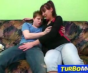 Hirsute housewife Karin sex with a teen boy - 6 min