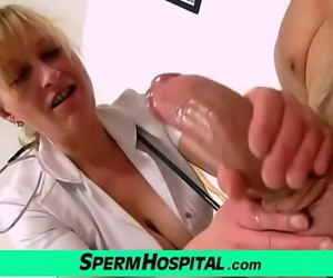Gabina a mature uniform woman CFNM exam and handjob 6 min